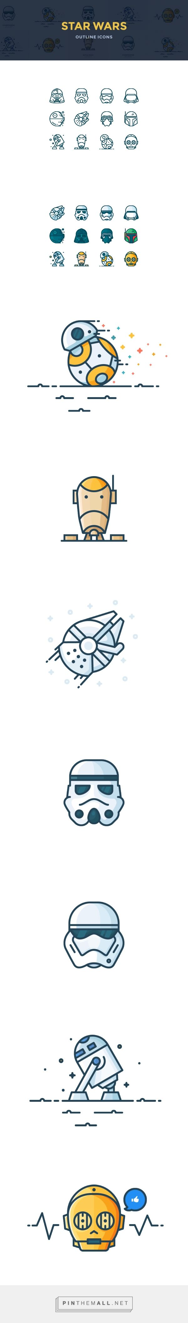 Outline Star Wars Icons on Behance - created via https://pinthemall.net