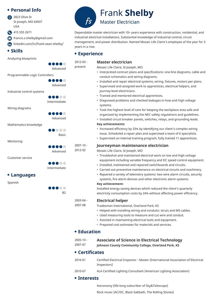 Electrician resume template initials resume examples