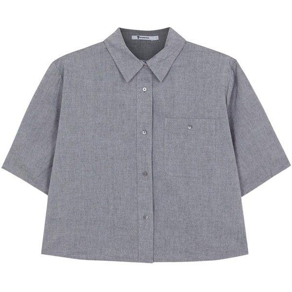 Womens Shirts T By Alexander Wang Grey Cropped Chambray Shirt featuring polyvore, fashion, clothing, tops, shirts, crop top, blouses, t by alexander wang, grey crop top, crop shirts and gray chambray shirt