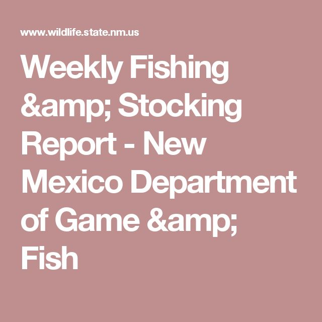 1000 ideas about fishing report on pinterest fishing for New mexico department of game and fish