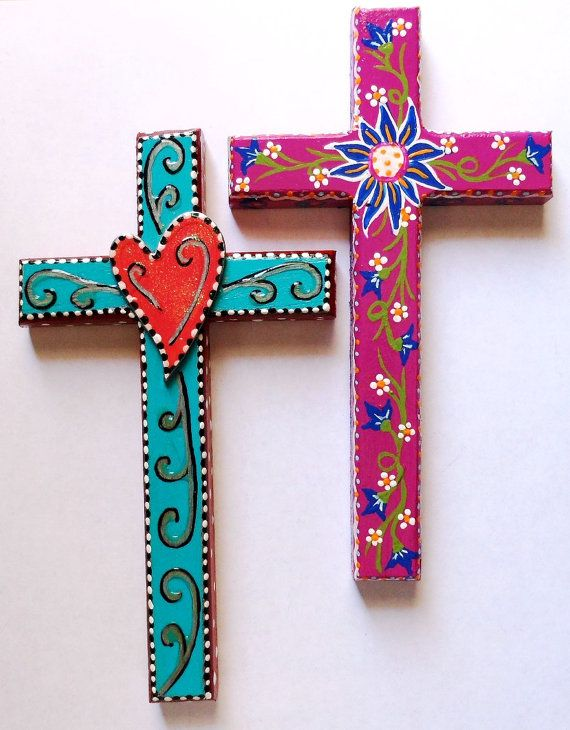 Cross with heart painted.