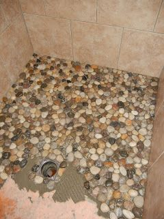Something From Nothing: Pebble Shower Floor --- My future bathroom floor but with Lake Superior rocks!