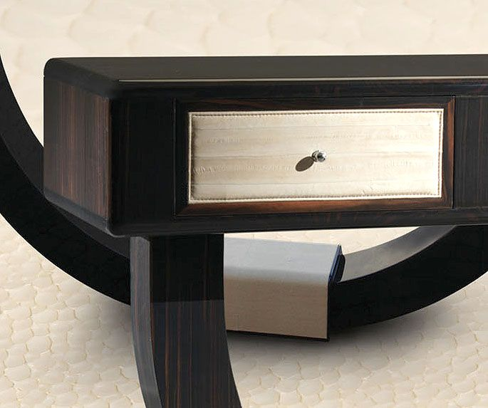 Exquisite Hand Made Eel Leather U0026 Macassar Ebony Console Table.