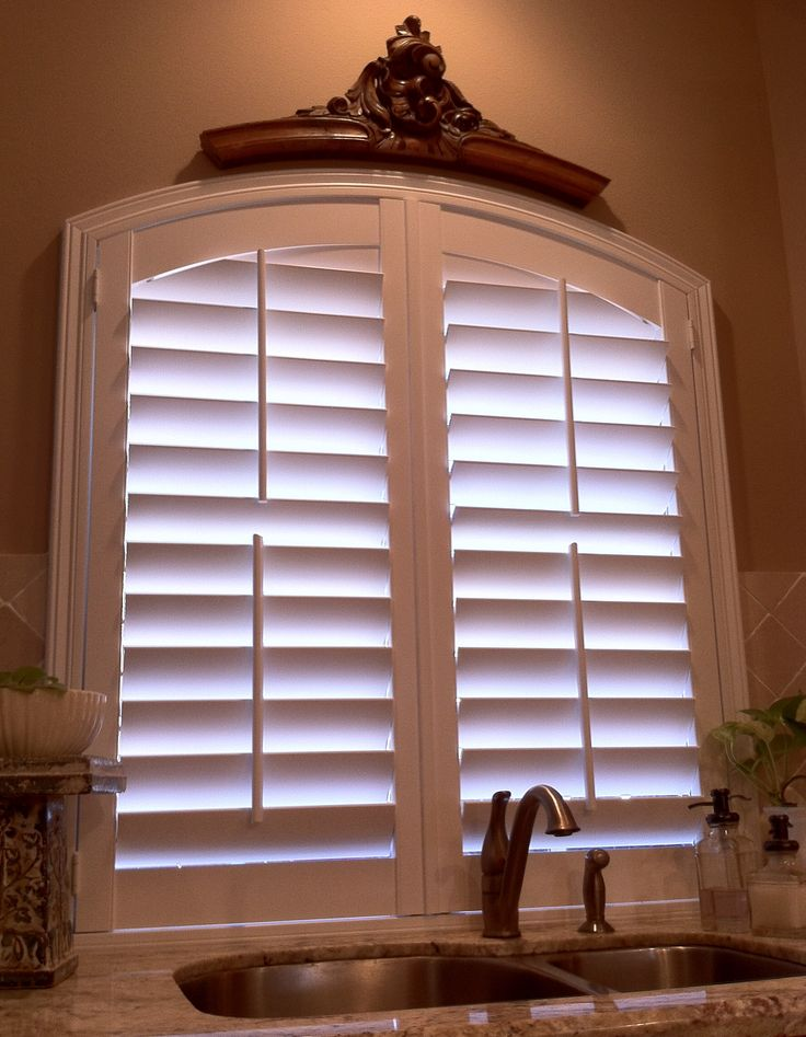 Arched kitchen window with plantation shutter final for Arched kitchen window treatment ideas