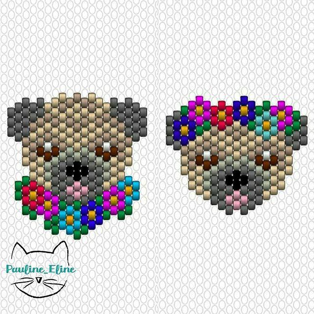 Lady Rosamund et son diadème sont les grands gagnants ! Même si j'adore les chats, j'ai bien envie de refaire des chiens. Je vais y réfléchir... Bon dimanche les gens! #jenfiledesperlesetjassume #miyukibeads #miyuki #perle #diagrammeperles #beadpattern #pattern #brickstitch #motifpauline_eline #dog #chien #pug #carlin