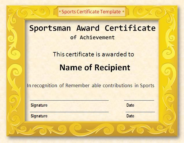 photograph about Free Printable Sports Certificates referred to as 17+ Sports activities Certification Templates No cost Printable Term PDF