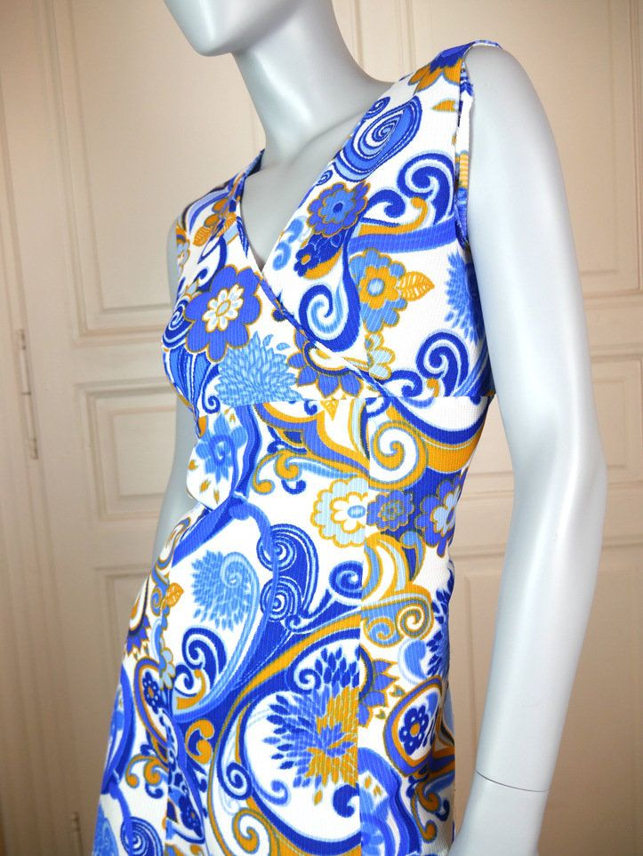 1970s Sheath Dress, Swedish Vintage Midi Dress, Blue White Midi Dress, Retro Sheath Dress, Floral Dress, Psychedelic: Size 8 (US), 12 (UK) by YouLookAmazing on Etsy