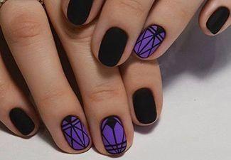nail art, manicure, design, ногти, маникюр, дизайн ногтей,черные фиолетовые, геометрический