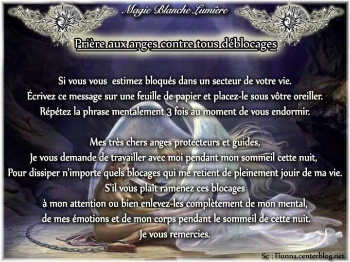 Prière aux anges contre tous blocages  Page Facebook : Spiritualité, Magie Blanche Lumière