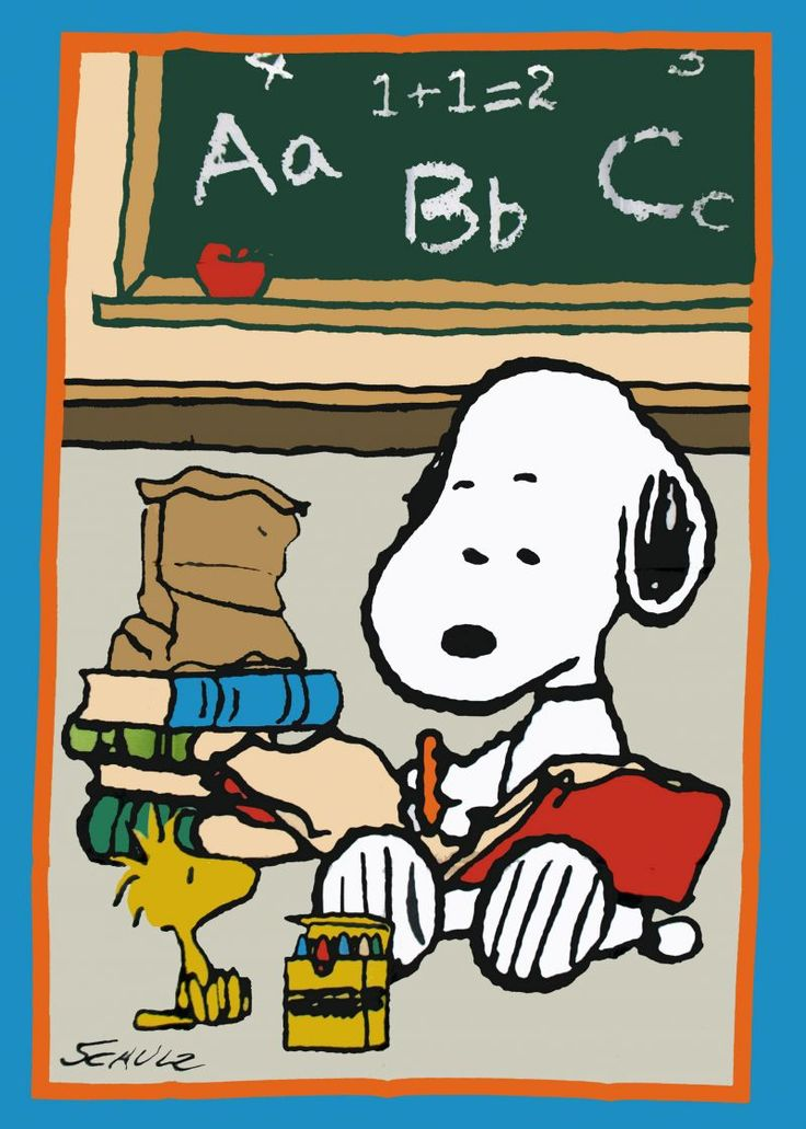 Snoopy and Woodstock: ready for school