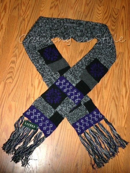 Ralph Lauren NEW Knitted Lambs Wool & Rabbit Fur Scarf Multi-Color Patchwork #RalphLauren #Scarf #casual