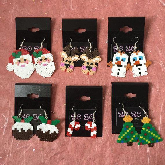 Christmas Pixel Earrings by ZoZoTings on Etsy