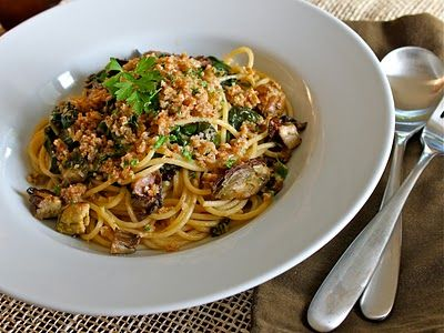 There's a Newf in My Soup!: Smoked Oysters Rockefeller Pasta aka Smoked Oyster Pastafeller