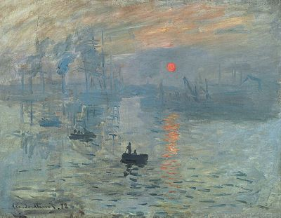 """Claude Monet, Impression, soleil levant. The term """"Impressionism"""" was named after this painting! Talk about a trivia tip."""