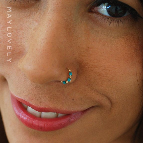 Nose Ring Hoop turquoise nose hoop Nose Piercing by maylovely