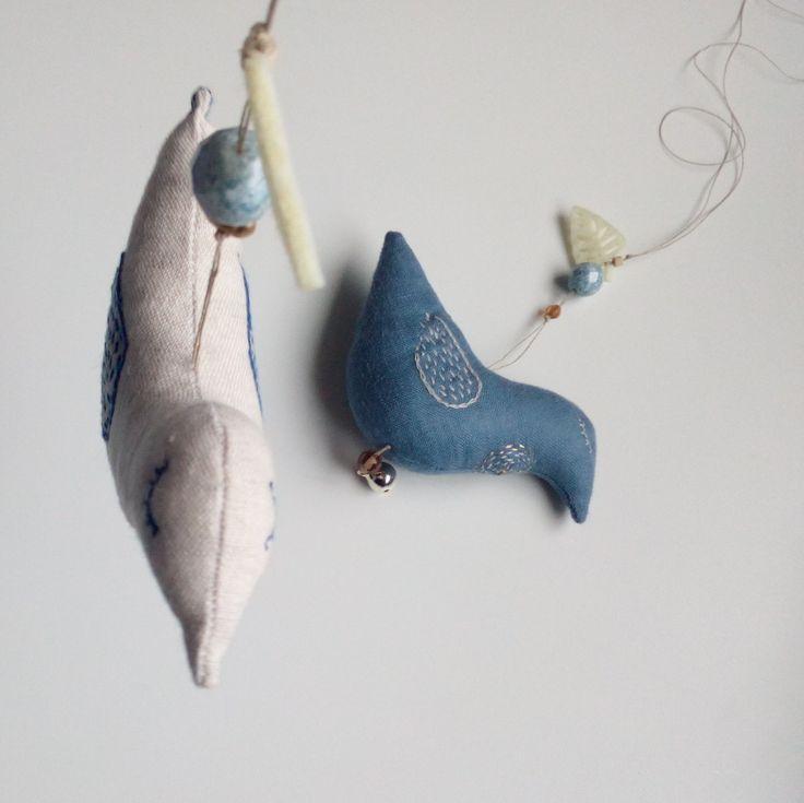 Birds with hand embroidery JEN LEN atelier / Marketa Vachalova Vojtiskova, Czech republic