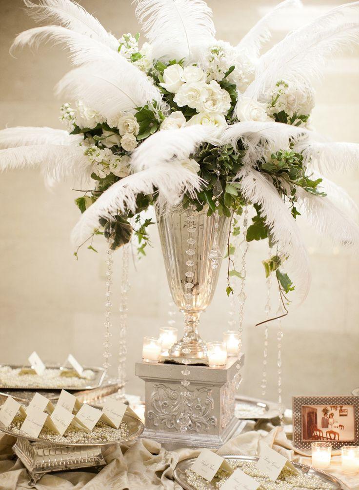 1000 ideas about feather wedding decor on pinterest for Art deco party decoration ideas