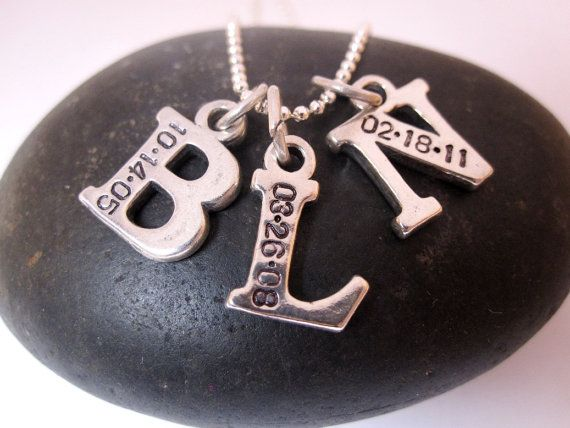 Mommy necklace THREE letters Hand stamped jewelry by underhercharm, $74.00