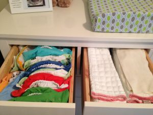 Cloth diaper organization- Prefolds- I can see this working with our dresser and current set up!