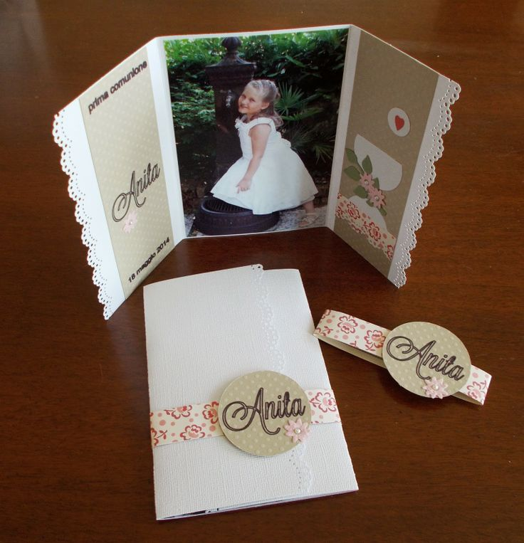 handmade Communion card ... gatefold format ... MS scalloped lace border punch adds a feminine touch ... sweet photo as the center panel ... belly band with name on polka dot die cut circle ... delightful!