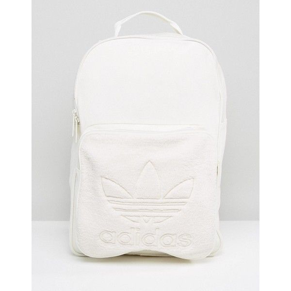 adidas Originals Backpack With Borg Pocket In Cream BQ8120 ($58) ❤ liked on Polyvore featuring men's fashion, men's bags, men's backpacks, beige, mens one strap backpack and mens laptop backpack