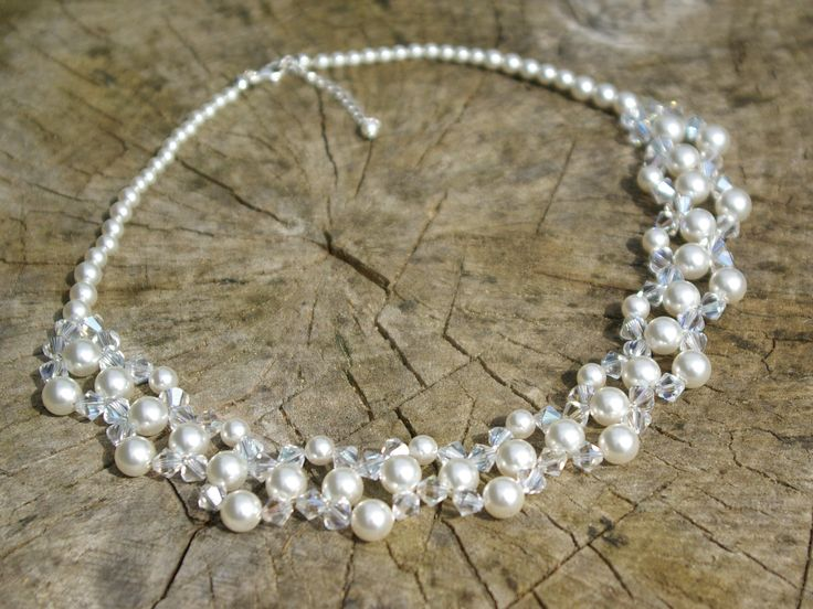 Pearl and Crystal Necklace Swarovski Crystal Necklace Swarovski Pearl Necklace White Pearl Necklace Wedding Jewelry Bridal Wedding Crystal by AuroraCrystalPassion on Etsy