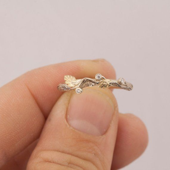 Twig and Leaf Wedding Ring, Bark Wedding Ring, bark wedding ring, rose gold ring, Elven Wedding Ring, 31 – All Nest and Bird Rings