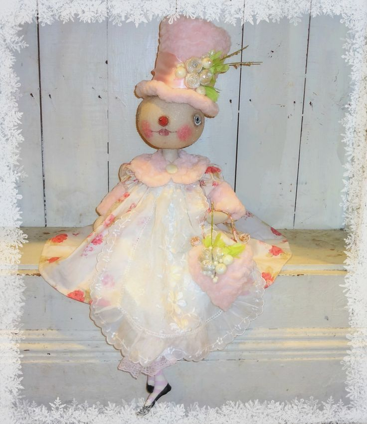 One of a Kind Snow lady.   Original creations from The Pixie's Thimble by Cindy Conrad