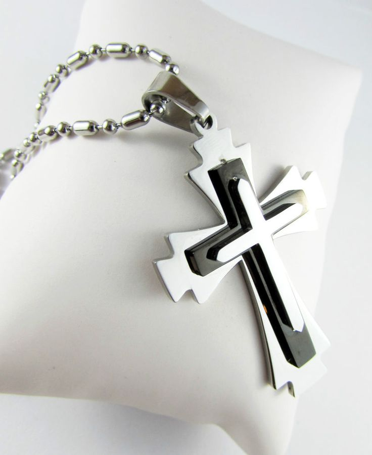 Black Silver Cross Pendant Stainless Steel Chain Necklace