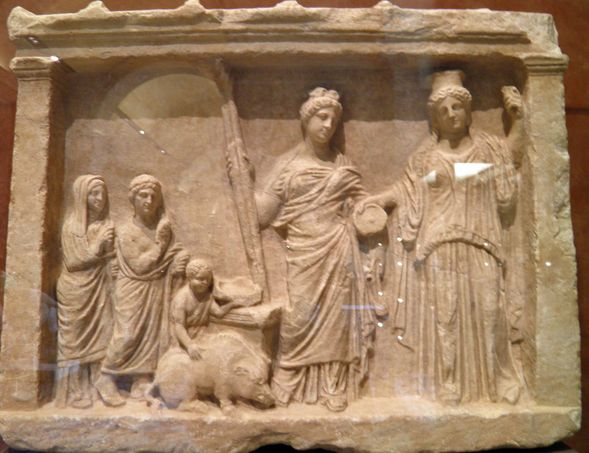 Votive relief sacrifice to Demeter and Persephone, from ...