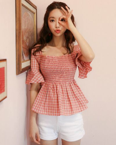 Shirred Plaid Peasant Blouse CHLO.D.MANON | #plaid #gingham #koreanfashion #kstyle #kfashion #blouse #seoul #summertrend