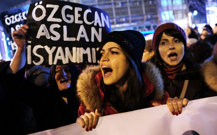 Women in Turkey protest at murder of young woman after she resisted an alleged attempt to rape her