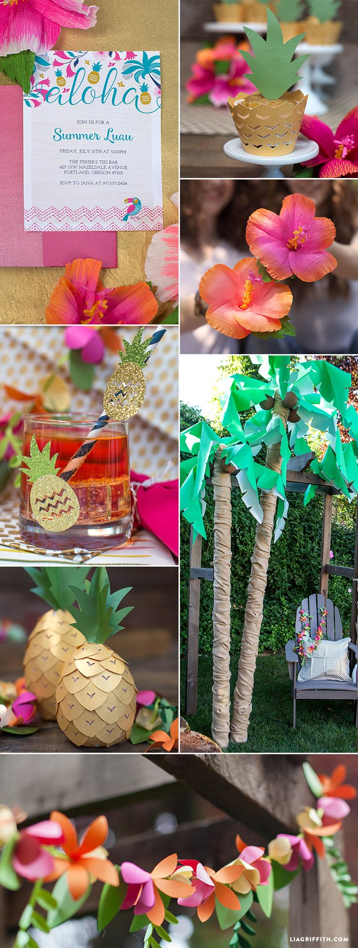 Create your own show stopping summer party with this collection of Luau party ideas including printables, projects and tutorials from Lia Griffith.