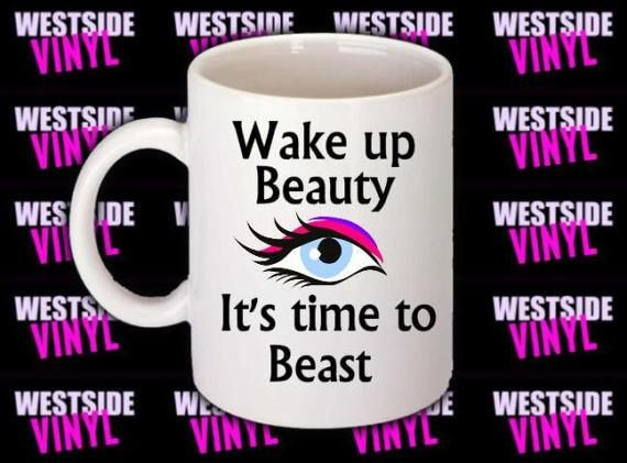 Beauty Beast Mug, Coffee Mug, Coffee Lovers, Funny Mugs, Novelty, Add Names Images And Logos, Ceramic, Printed Both Sides