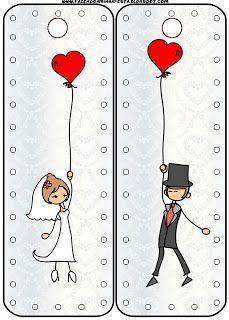Imprimibles gratis para bodas de novios con globos y corazones.: