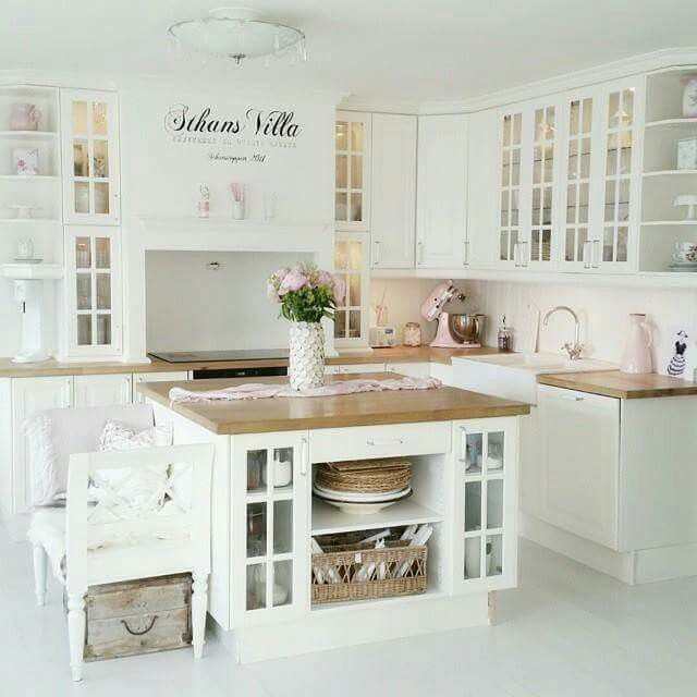 OH MY LOVELYNESS I love this kitchen!!! White & Chopping Block counter tops
