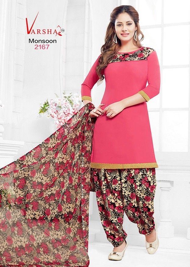 Indian Pakistani Printed Crepe Suit Dress Casual Stitched Salwar Kameez Shalwar