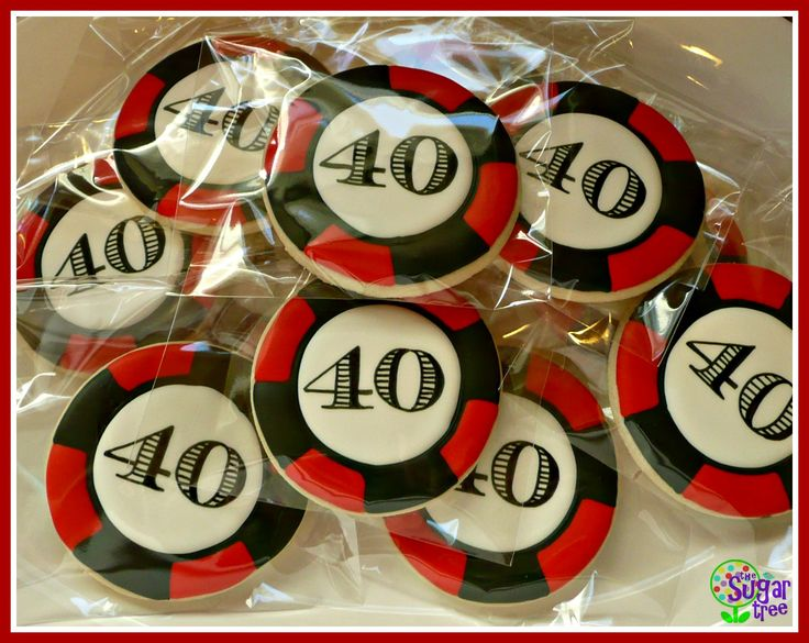 poker chip cookies for 40th birthday