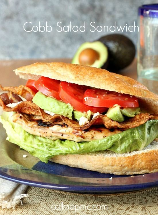 Cobb Salad Sandwich recipe, I healthy dinner meal with bacon, chicken, avocado and more.