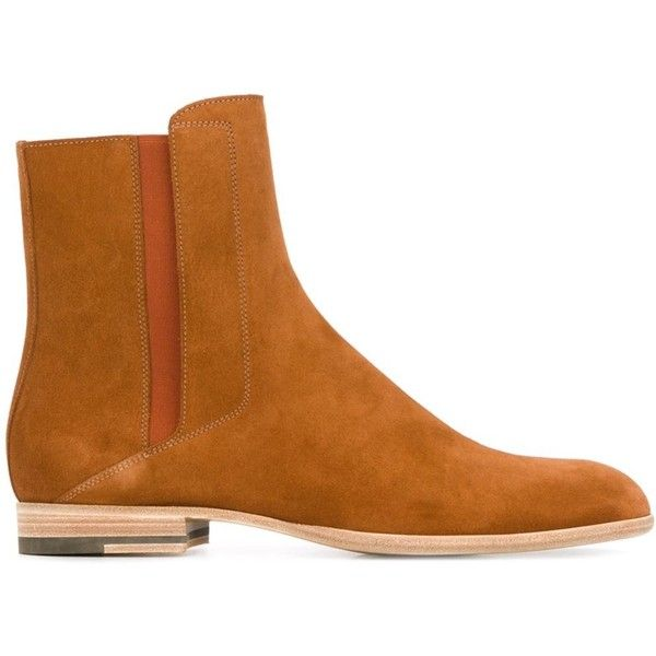 Maison Margiela Chelsea ankle boots ($488) ❤ liked on Polyvore featuring men's fashion, men's shoes, men's boots, brown, maison margiela men's shoes, mens brown boots, mens leather chelsea boots, mens leather boots and mens brown chelsea boots