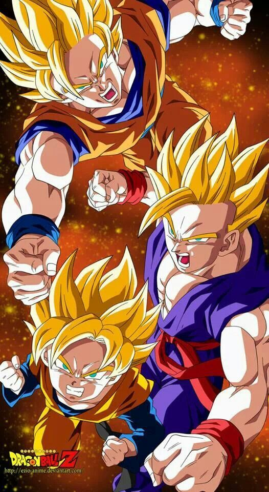 SSJ Goku, SSJ Gohan and SSJ Goten. Wonder what time period this is... it seems like before Second coming but Goku doesn't have the halo. It could be before the Majin Buu arc but I can't tell.