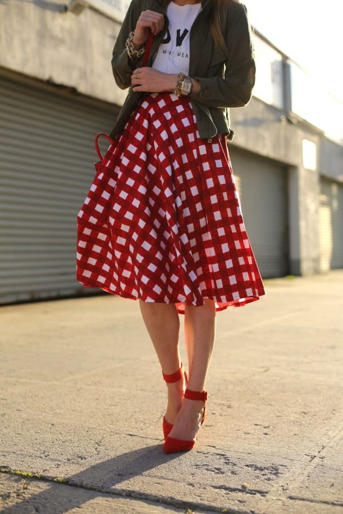 big gingham skirt