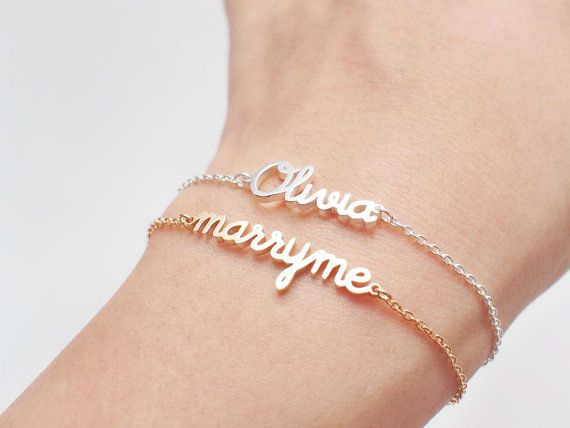 Custom Name Bracelet 15 Fonts Style To Choose Customize Your Name Bracelet Any Name Pendant Monogram Name Bracelet Gift Jewelry