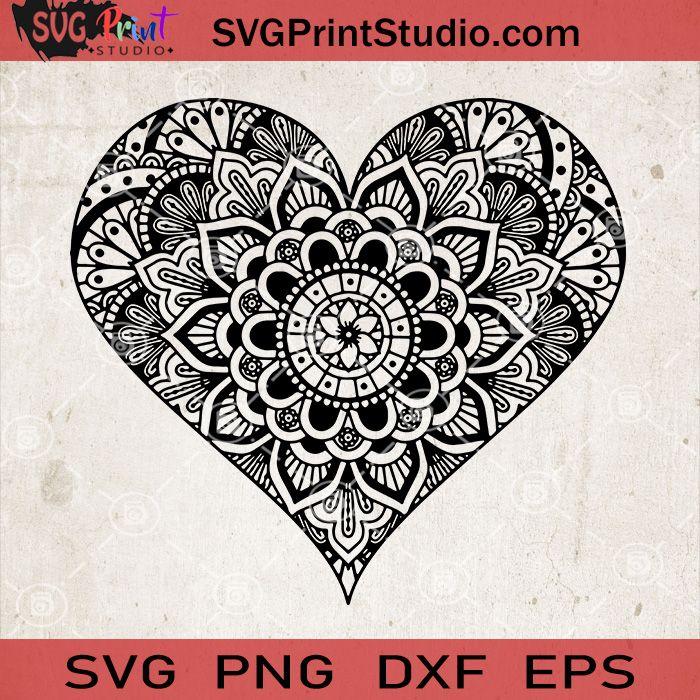 Download Heart Mandala SVG, Heart Zentangle SVG, Love Mandala SVG ...
