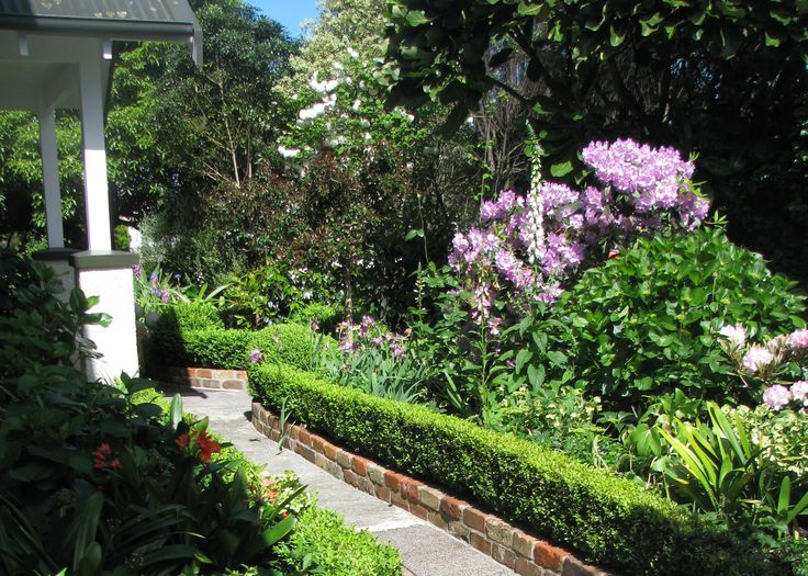 Box Hedging, Rhododendrums and Irises