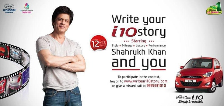 The Hyundai i10 is packed with unique features that make you stand out from the rest. Make sure your script is just as unique and stand a chance to star alongside Shah Rukh Khan in the next Hyundai commercial >> http://writeuri10story.com/
