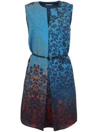 Lavand - Modré šaty s květinovým motivem a ombré efektem - 1
