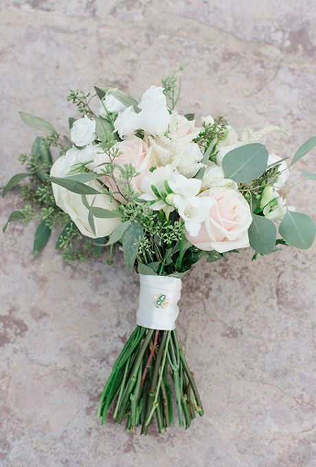 Brides: Simple Mixed Bouquet of Roses & Hydrangea. The bride chose a pretty mix of blush, coral, and yellow roses, ranunculus, hydrangea, and eucalyptus.