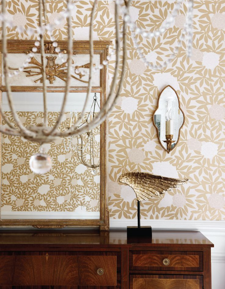 Dinin Room - osbourne & little asuka wallpaper, nierman weeks chandelier, great sconces