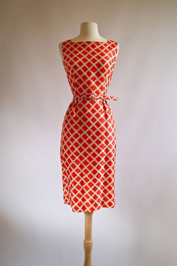 Vintage 1950s Betty Barclay Red Silk Wiggle Dress by xtabayvintage